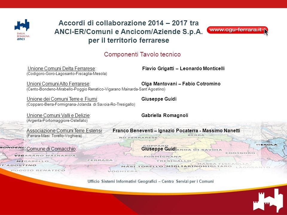 Componenti Tavolo tecnico Unione Comuni Delta Ferrarese:Flavio Grigatti – Leonardo Monticelli (Codigoro-Goro-Lagosanto-Fiscaglia-Mesola) Unioni Comuni