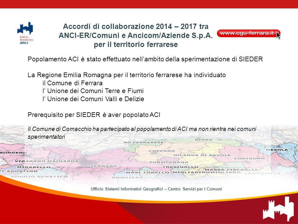 Popolamento ACI è stato effettuato nell'ambito della sperimentazione di SIEDER La Regione Emilia Romagna per il territorio ferrarese ha individuato il Comune di Ferrara l' Unione dei Comuni Terre e Fiumi l' Unione dei Comuni Valli e Delizie Prerequisito per SIEDER è aver popolato ACI Il Comune di Comacchio ha partecipato al popolamento di ACI ma non rientra nei comuni sperimentatori Accordi di collaborazione 2014 – 2017 tra ANCI-ER/Comuni e Ancicom/Aziende S.p.A.