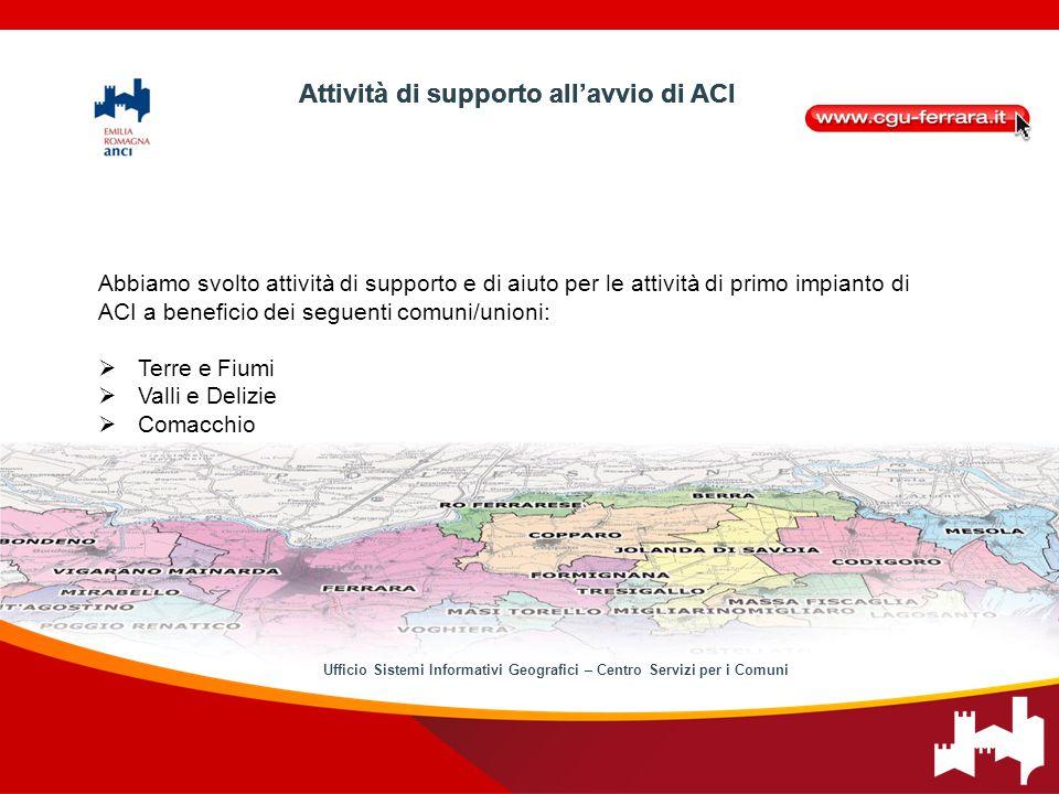 Abbiamo svolto attività di supporto e di aiuto per le attività di primo impianto di ACI a beneficio dei seguenti comuni/unioni:  Terre e Fiumi  Vall