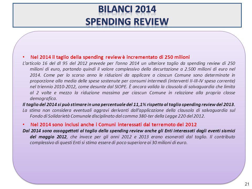21 Nel 2014 il taglio della spending review è incrementato di 250 milioni L'articolo 16 del dl 95 del 2012 prevede per l'anno 2014 un ulteriore taglio da spending review di 250 milioni di euro, portando quindi il valore complessivo della decurtazione a 2.500 milioni di euro nel 2014.