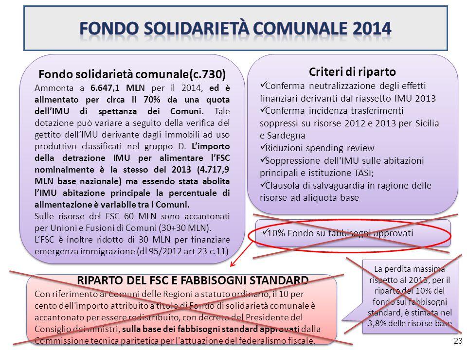 23 Fondo solidarietà comunale(c.730) Ammonta a 6.647,1 MLN per il 2014, ed è alimentato per circa il 70% da una quota dell'IMU di spettanza dei Comuni.