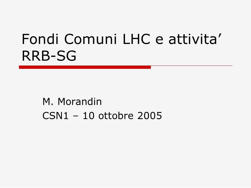 Fondi Comuni LHC e attivita' RRB-SG M. Morandin CSN1 – 10 ottobre 2005