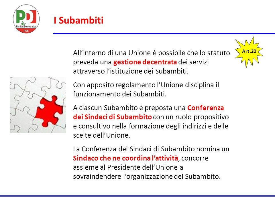 I Subambiti Art.20 All'interno di una Unione è possibile che lo statuto preveda una gestione decentrata dei servizi attraverso l'istituzione dei Subam