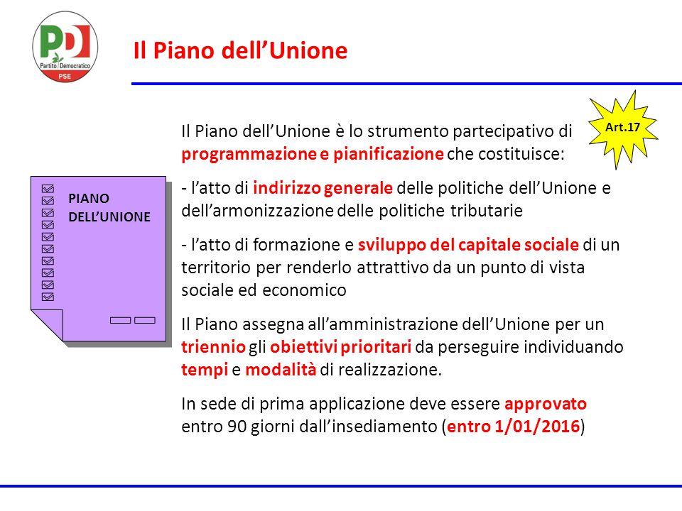 Il Piano dell'Unione Art.17 Il Piano dell'Unione è lo strumento partecipativo di programmazione e pianificazione che costituisce: - l'atto di indirizz