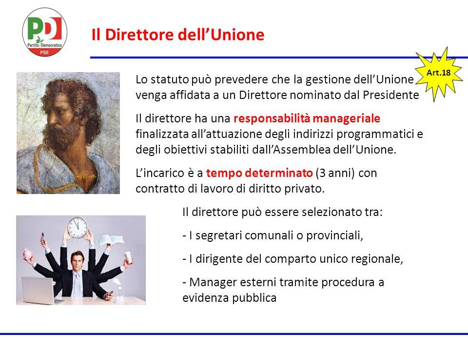 Il Direttore dell'Unione Art.18 Lo statuto può prevedere che la gestione dell'Unione venga affidata a un Direttore nominato dal Presidente Il direttor