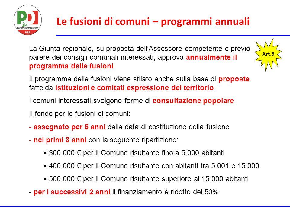 Le fusioni di comuni – programmi annuali Art.5 La Giunta regionale, su proposta dell'Assessore competente e previo parere dei consigli comunali intere