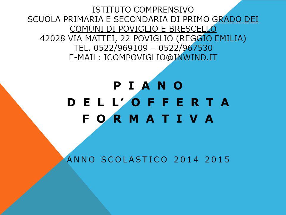 PIANO DELL'OFFERTA FORMATIVA IL PIANO DELL' OFFERTA FORMATIVA RAPPRESENTA L'INSIEME DELLE SCELTE PEDAGOGICHE, CULTURALI, ORGANIZZATIVE E OPERATIVE CHE CARATTERIZZANO L'IDENTITA' DEL NOSTRO ISTITUTO COMPRENSIVO.