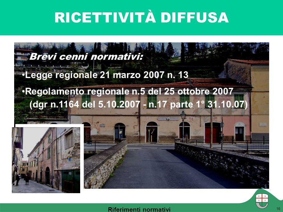 RICETTIVITÀ DIFFUSA 16 Legge regionale 21 marzo 2007 n. 13 Regolamento regionale n.5 del 25 ottobre 2007 (dgr n.1164 del 5.10.2007 - n.17 parte 1° 31.