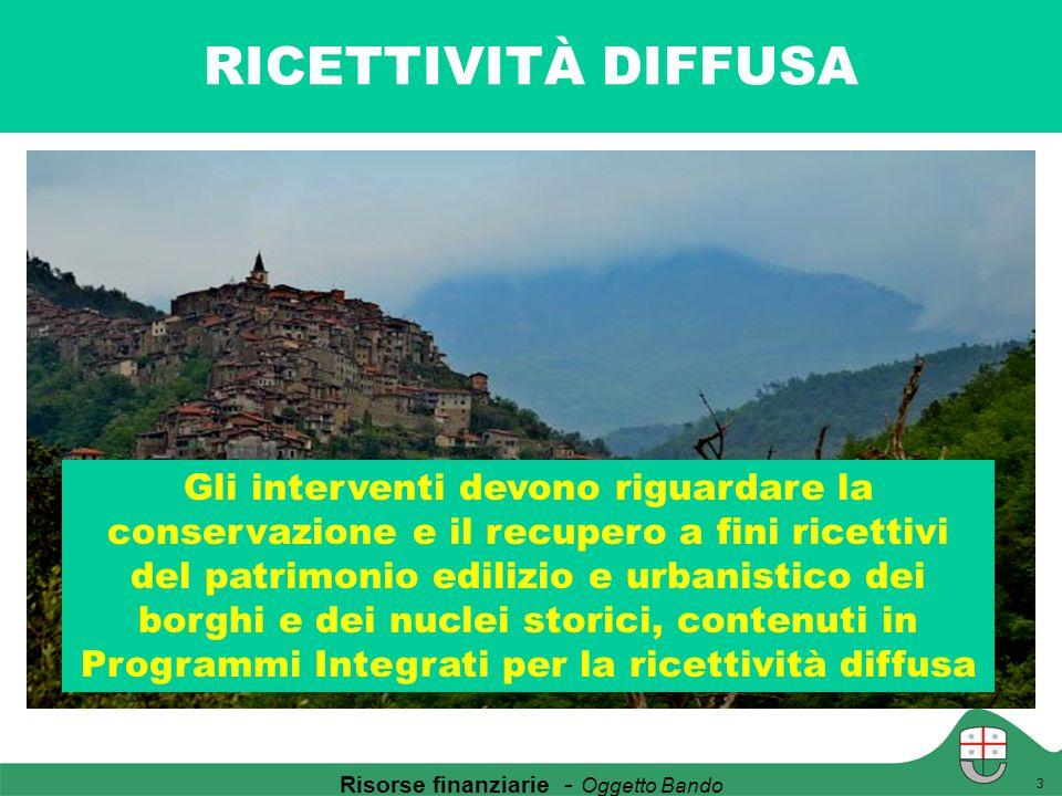 RICETTIVITÀ DIFFUSA 3 Gli interventi devono riguardare la conservazione e il recupero a fini ricettivi del patrimonio edilizio e urbanistico dei borgh