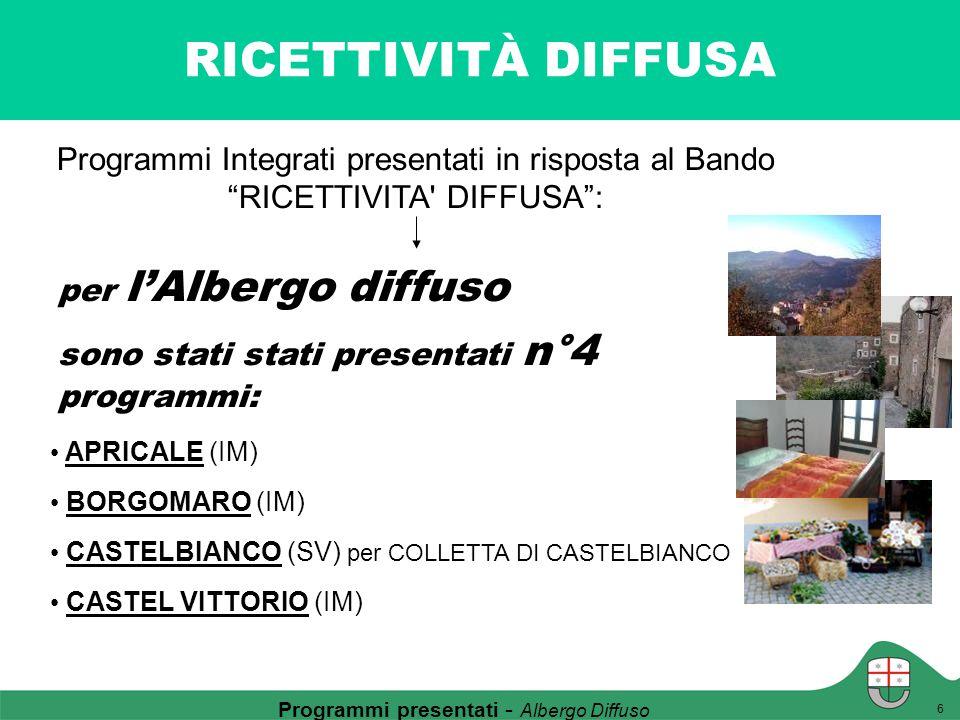 """RICETTIVITÀ DIFFUSA Programmi presentati - Albergo Diffuso 6 Programmi Integrati presentati in risposta al Bando """"RICETTIVITA' DIFFUSA"""": per l'Albergo"""