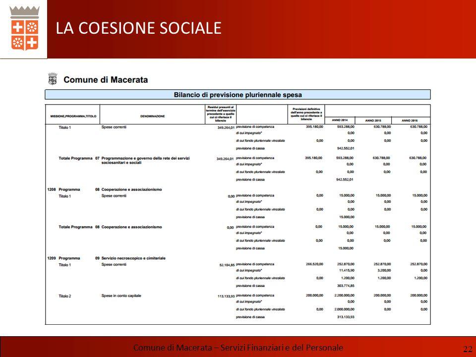 LA COESIONE SOCIALE Comune di Macerata – Servizi Finanziari e del Personale 22