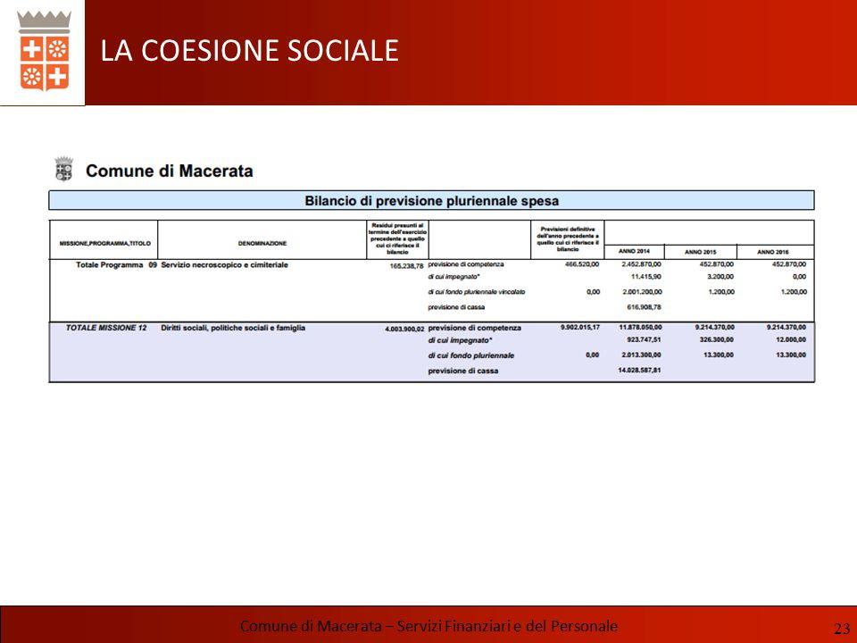 LA COESIONE SOCIALE Comune di Macerata – Servizi Finanziari e del Personale 23