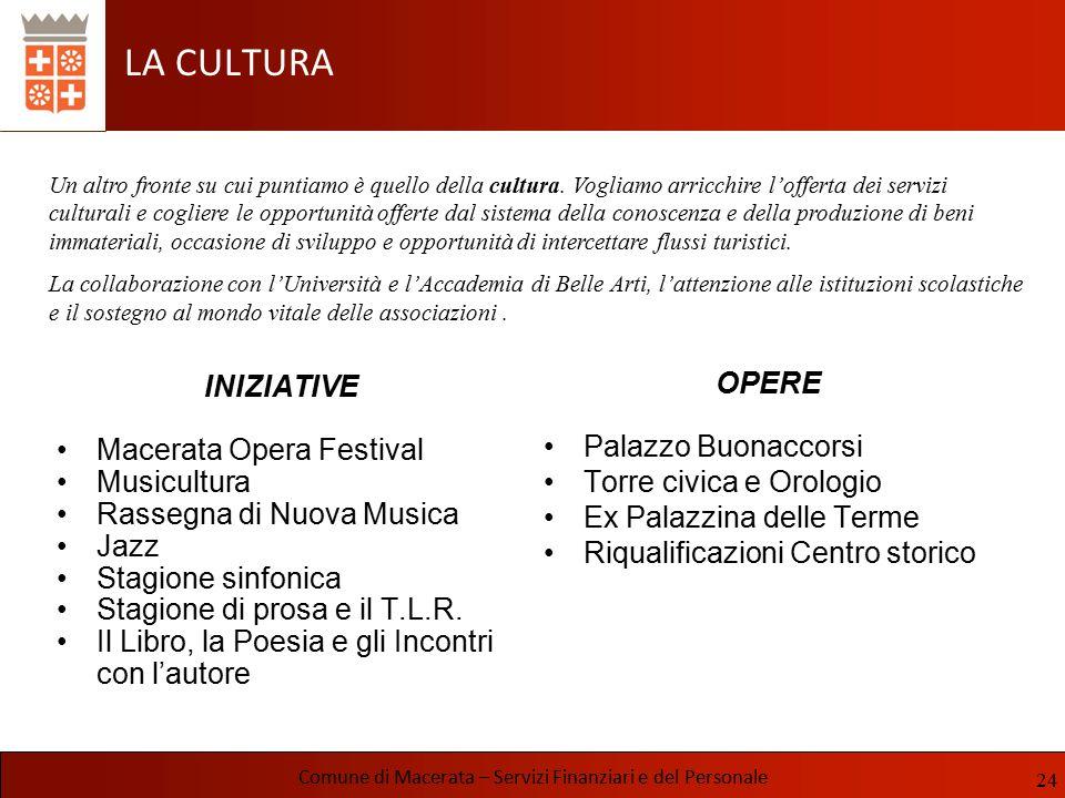 LA CULTURA INIZIATIVE Macerata Opera Festival Musicultura Rassegna di Nuova Musica Jazz Stagione sinfonica Stagione di prosa e il T.L.R. Il Libro, la