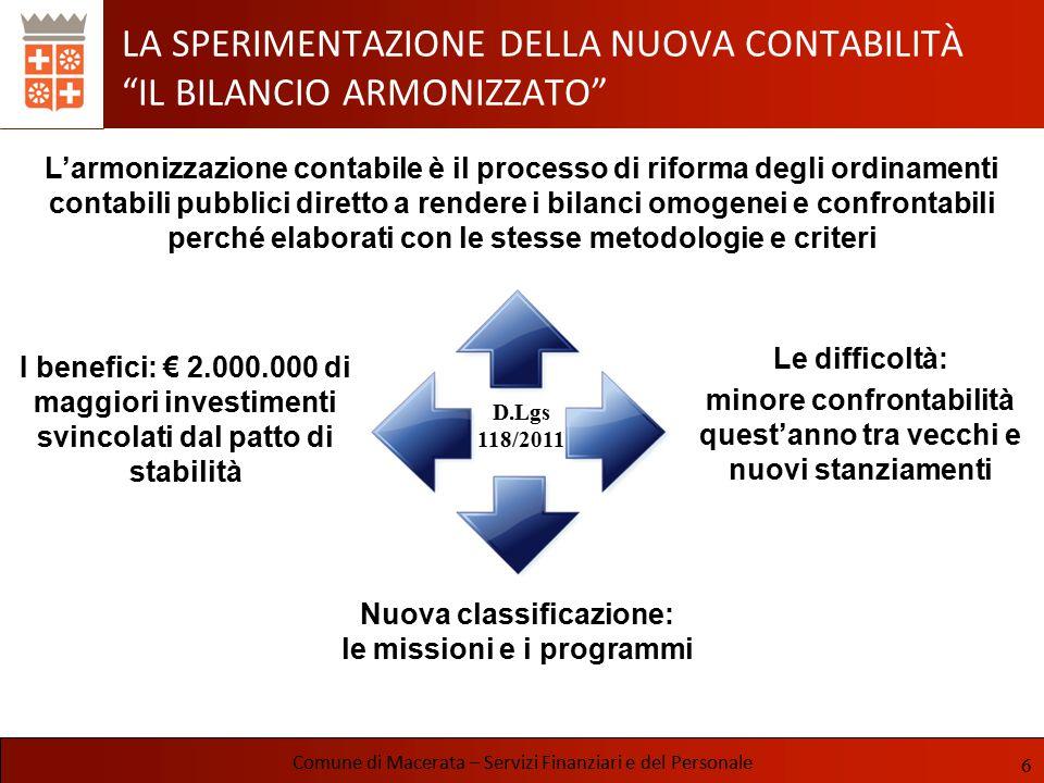 LE ENTRATE Comune di Macerata – Servizi Finanziari e del Personale ISTITUZIONE IUC LEGGE 27 dicembre 2013, n.