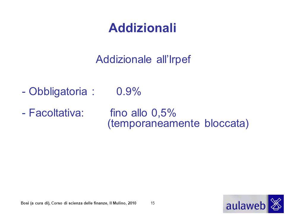 Bosi (a cura di), Corso di scienza delle finanze, Il Mulino, 201015 Addizionali Addizionale all'Irpef - Obbligatoria : 0.9% - Facoltativa: fino allo 0,5% (temporaneamente bloccata)