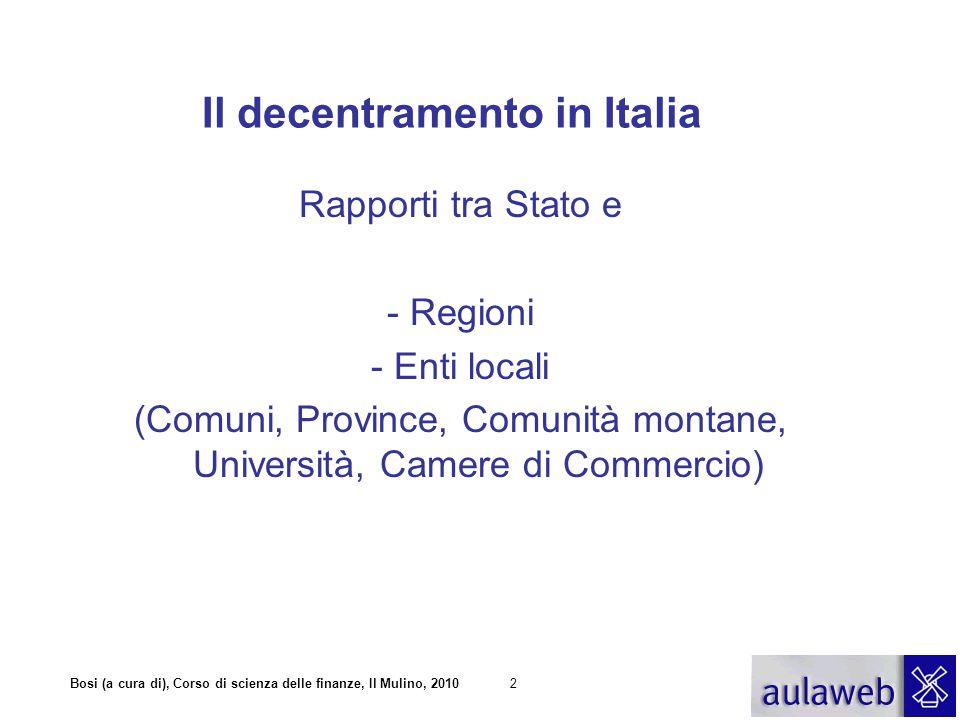 Bosi (a cura di), Corso di scienza delle finanze, Il Mulino, 201023 IL FINANZIAMENTO DEI COMUNI