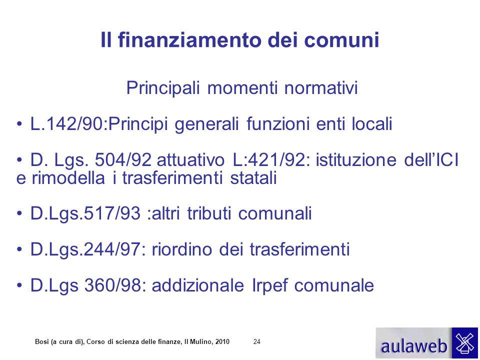 Bosi (a cura di), Corso di scienza delle finanze, Il Mulino, 201024 Il finanziamento dei comuni Principali momenti normativi L.142/90:Principi generali funzioni enti locali D.