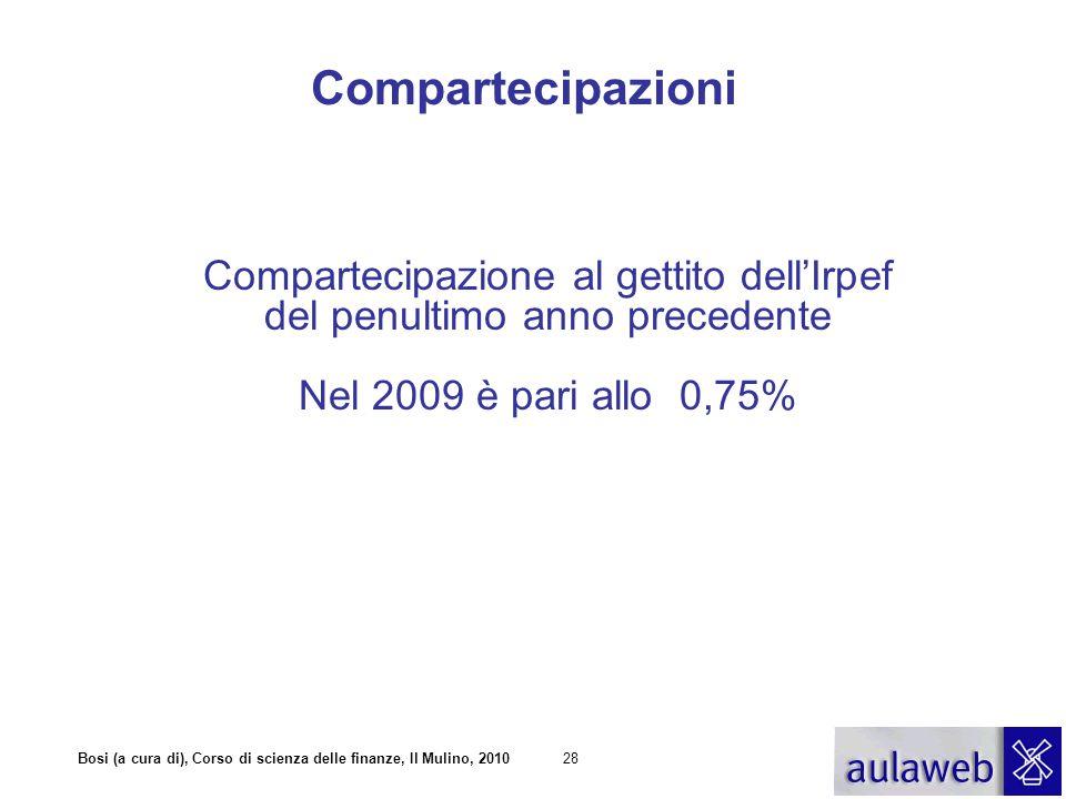 Bosi (a cura di), Corso di scienza delle finanze, Il Mulino, 201028 Compartecipazione al gettito dell'Irpef del penultimo anno precedente Nel 2009 è pari allo 0,75% Compartecipazioni