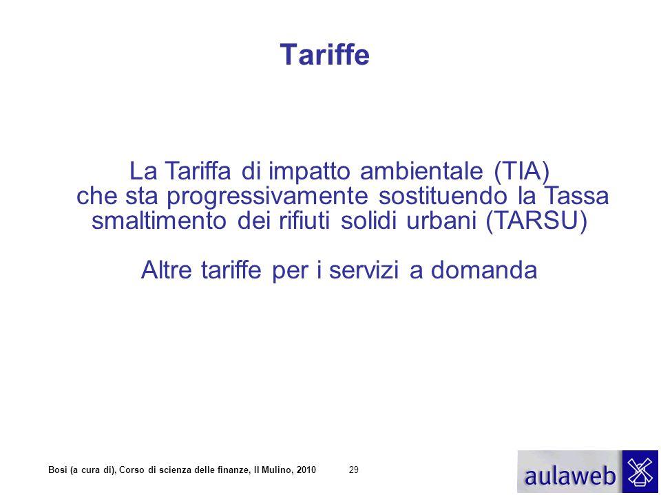 Bosi (a cura di), Corso di scienza delle finanze, Il Mulino, 201029 La Tariffa di impatto ambientale (TIA) che sta progressivamente sostituendo la Tassa smaltimento dei rifiuti solidi urbani (TARSU) Altre tariffe per i servizi a domanda Tariffe