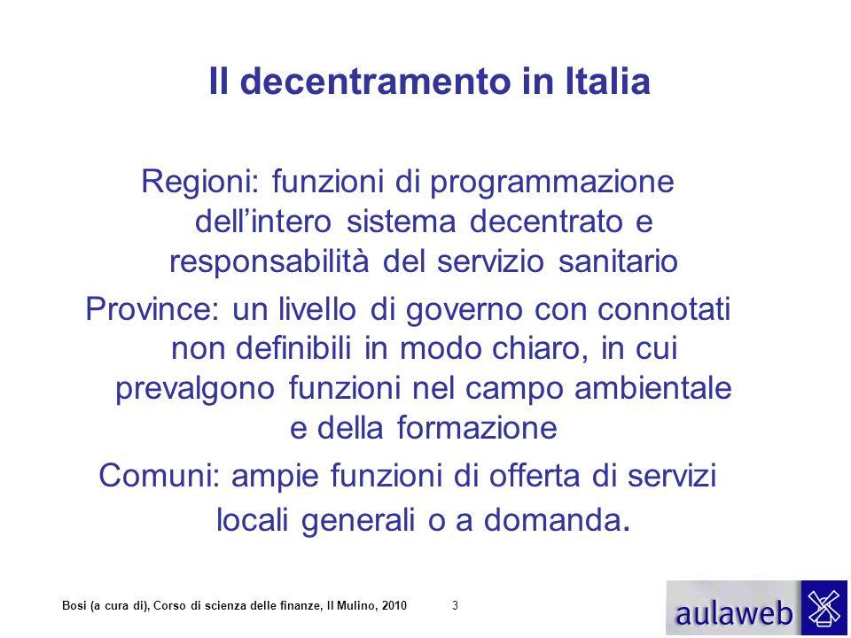 Bosi (a cura di), Corso di scienza delle finanze, Il Mulino, 20104 Stato Comuni Regioni Fondo perequativo Fondo ordinario Fondo perequativo Rapporti finanziari tra livelli di governo in Italia