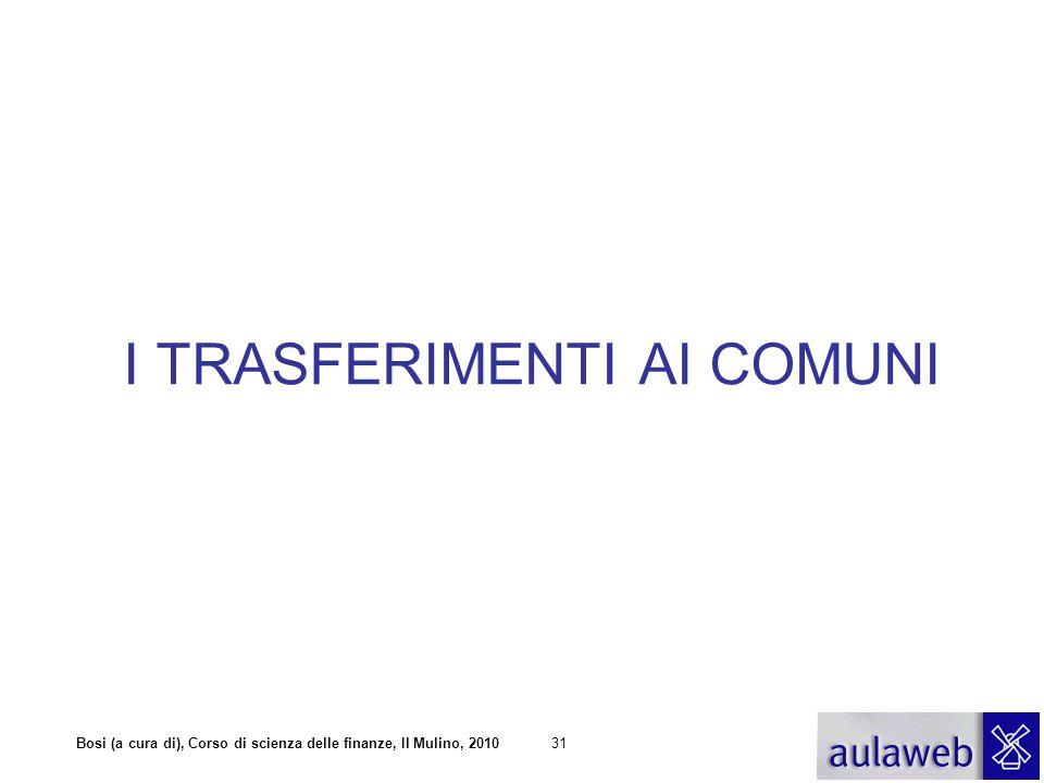 Bosi (a cura di), Corso di scienza delle finanze, Il Mulino, 201031 I TRASFERIMENTI AI COMUNI