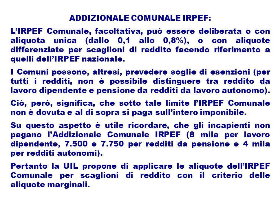 ADDIZIONALE COMUNALE IRPEF: L'IRPEF Comunale, facoltativa, può essere deliberata o con aliquota unica (dallo 0,1 allo 0,8%), o con aliquote differenziate per scaglioni di reddito facendo riferimento a quelli dell'IRPEF nazionale.