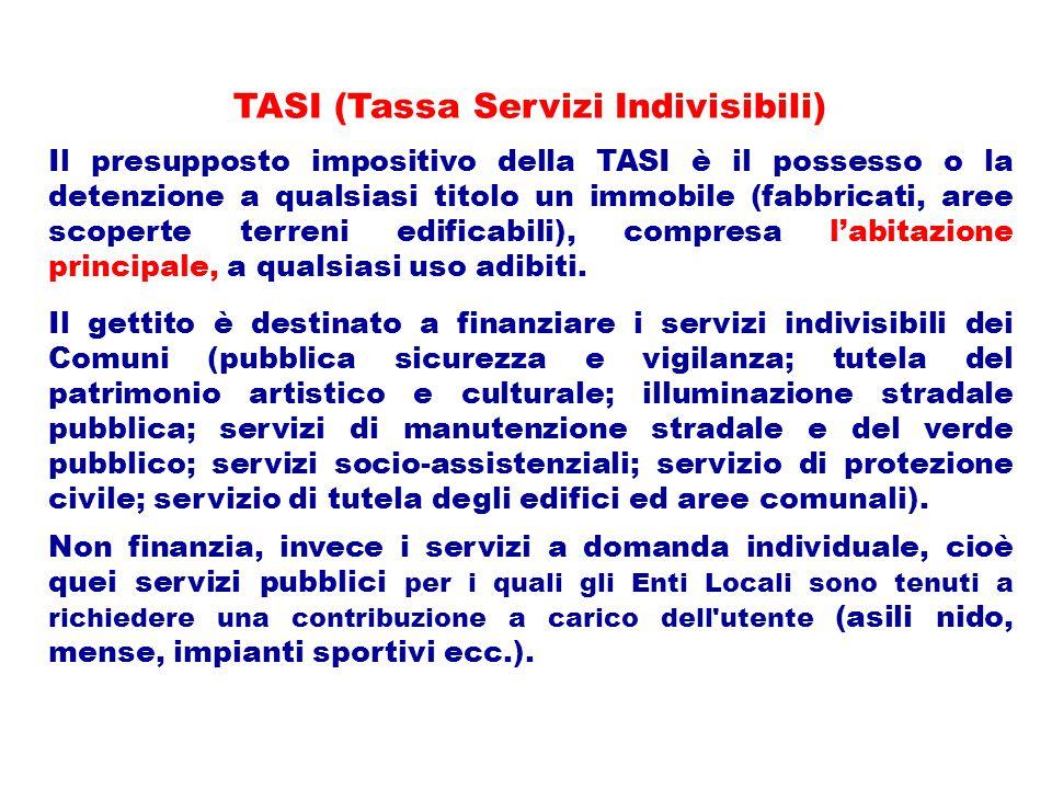 TASI (Tassa Servizi Indivisibili) Il presupposto impositivo della TASI è il possesso o la detenzione a qualsiasi titolo un immobile (fabbricati, aree scoperte terreni edificabili), compresa l'abitazione principale, a qualsiasi uso adibiti.
