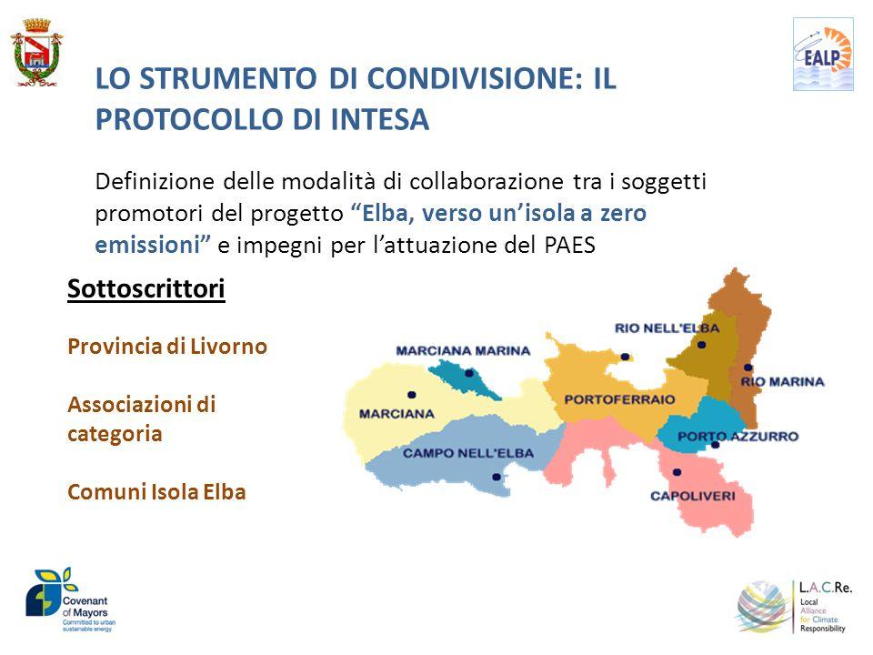"""LO STRUMENTO DI CONDIVISIONE: IL PROTOCOLLO DI INTESA Definizione delle modalità di collaborazione tra i soggetti promotori del progetto """"Elba, verso"""