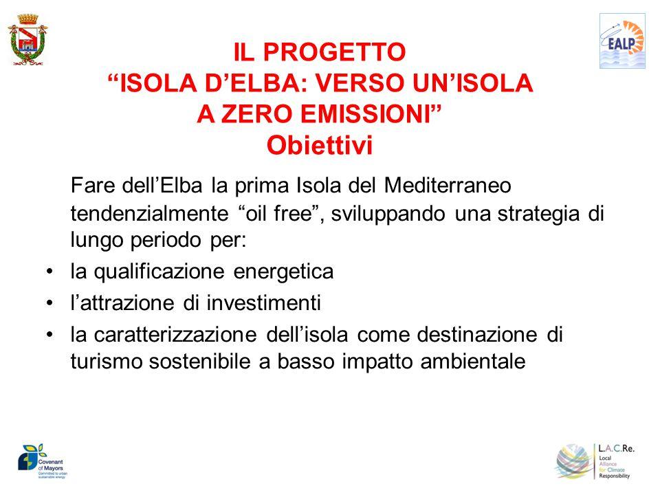 IL PROGETTO ISOLA D'ELBA: VERSO UN'ISOLA A ZERO EMISSIONI Obiettivi Fare dell'Elba la prima Isola del Mediterraneo tendenzialmente oil free , sviluppando una strategia di lungo periodo per: la qualificazione energetica l'attrazione di investimenti la caratterizzazione dell'isola come destinazione di turismo sostenibile a basso impatto ambientale