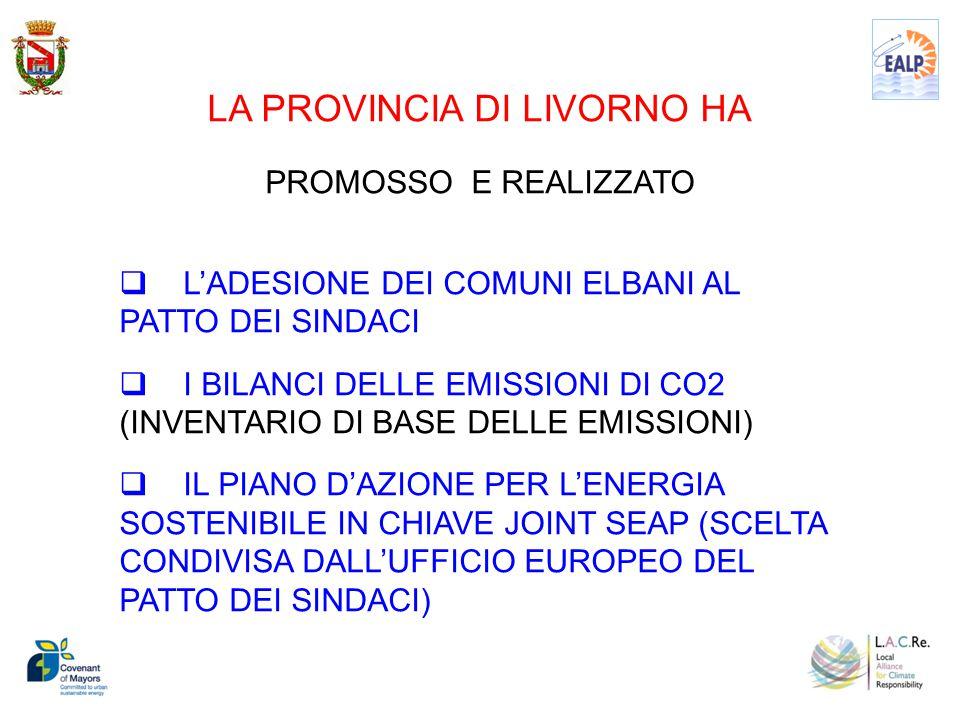 LA PROVINCIA DI LIVORNO HA PROMOSSO E REALIZZATO  L'ADESIONE DEI COMUNI ELBANI AL PATTO DEI SINDACI  I BILANCI DELLE EMISSIONI DI CO2 (INVENTARIO DI BASE DELLE EMISSIONI)  IL PIANO D'AZIONE PER L'ENERGIA SOSTENIBILE IN CHIAVE JOINT SEAP (SCELTA CONDIVISA DALL'UFFICIO EUROPEO DEL PATTO DEI SINDACI)