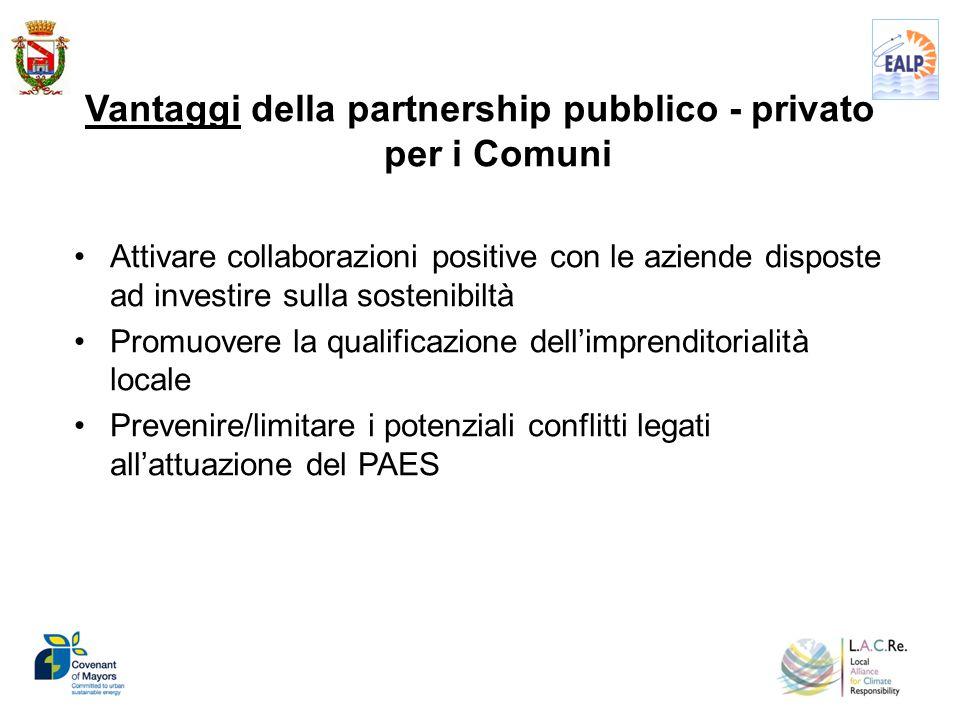 Vantaggi della partnership pubblico - privato per i Comuni Attivare collaborazioni positive con le aziende disposte ad investire sulla sostenibiltà Pr