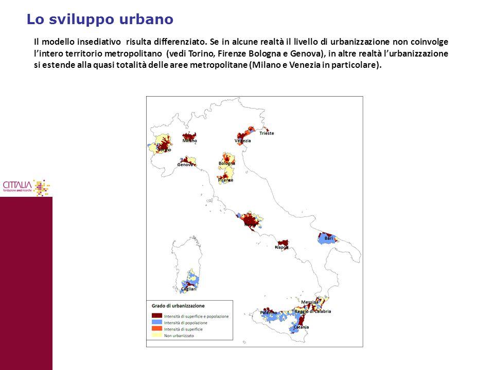 Lo sviluppo urbano Il modello insediativo risulta differenziato. Se in alcune realtà il livello di urbanizzazione non coinvolge l'intero territorio me