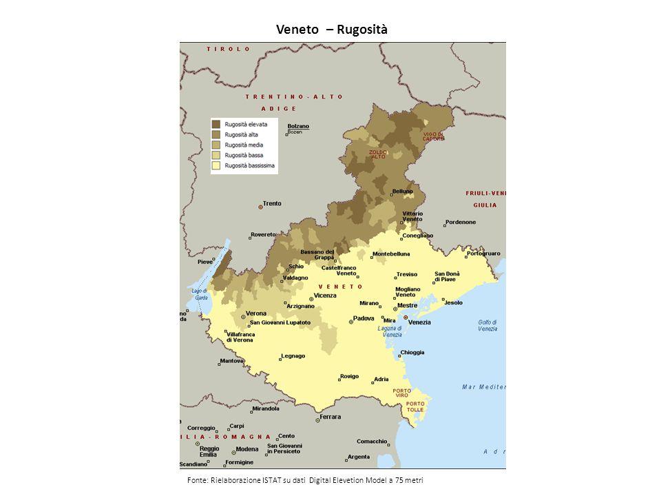 Veneto – Rugosità Fonte: Rielaborazione ISTAT su dati Digital Elevetion Model a 75 metri