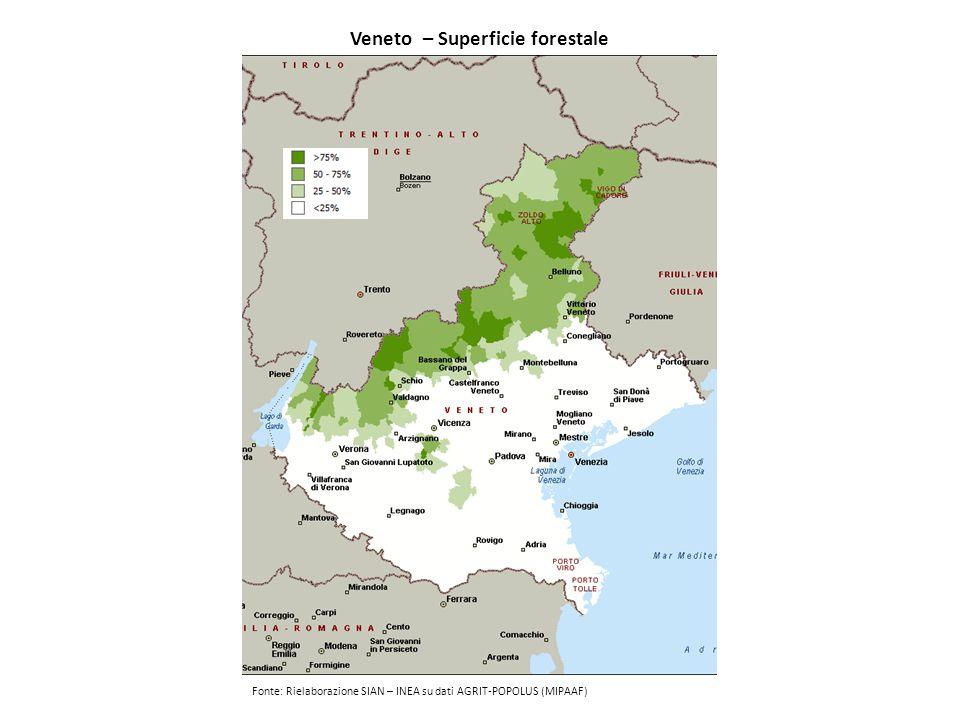 Veneto – Superficie forestale Fonte: Rielaborazione SIAN – INEA su dati AGRIT-POPOLUS (MIPAAF)