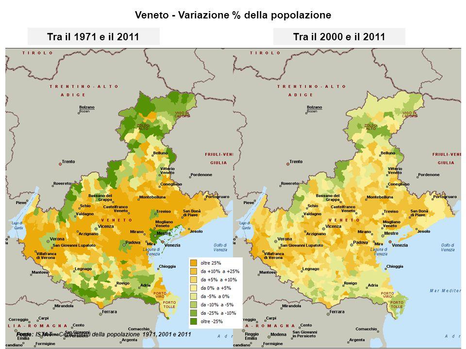 Veneto - Classe di rischio sismico - Indicatore di rischio per la vita umana per comune (Fonte: Dipartimento Protezione Civile)
