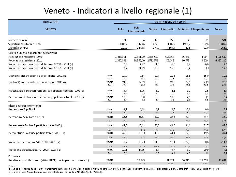 Indicatori a livello provinciale - Belluno