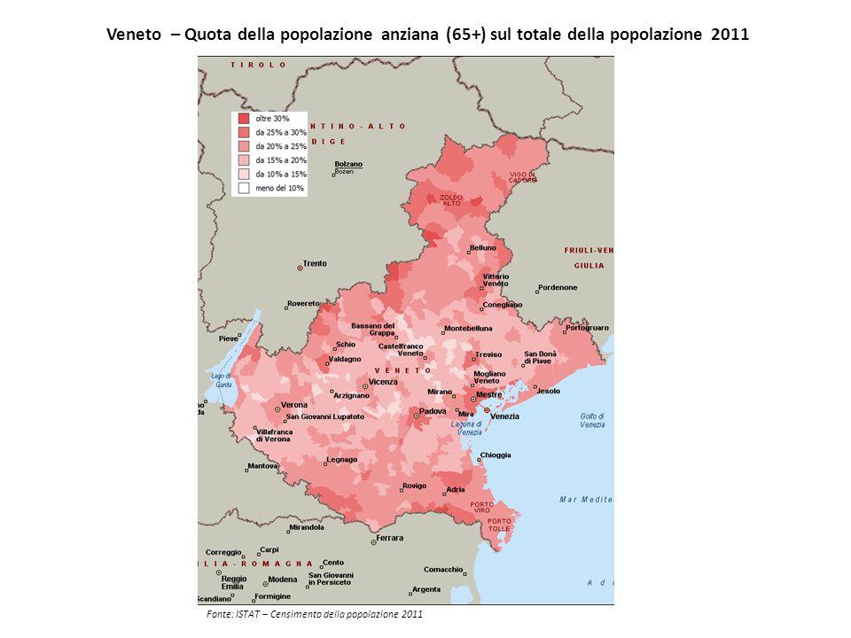 Veneto – Quota della popolazione straniera residente sul totale della popolazione 2011 Fonte: ISTAT – Censimento della popolazione 2011