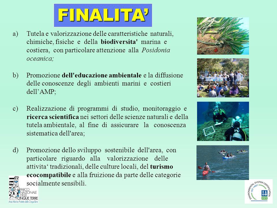 a)Tutela e valorizzazione delle caratteristiche naturali, chimiche, fisiche e della biodiversita' marina e costiera, con particolare attenzione alla P