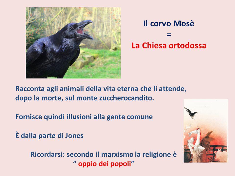 Il corvo Mosè = La Chiesa ortodossa Racconta agli animali della vita eterna che li attende, dopo la morte, sul monte zuccherocandito. Fornisce quindi