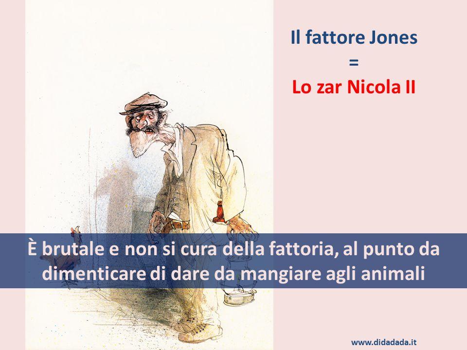 Il fattore Jones = Lo zar Nicola II È brutale e non si cura della fattoria, al punto da dimenticare di dare da mangiare agli animali www.didadada.it