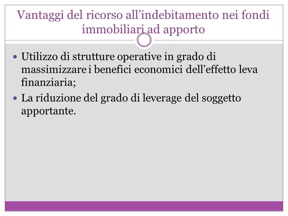 Vantaggi del ricorso all'indebitamento nei fondi immobiliari ad apporto Utilizzo di strutture operative in grado di massimizzare i benefici economici