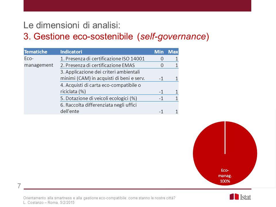 8 Orientamento alla smartness e alla gestione eco-compatibile: come stanno le nostre città.