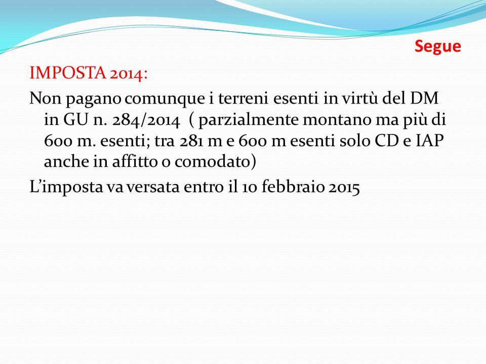 Segue IMPOSTA 2014: Non pagano comunque i terreni esenti in virtù del DM in GU n.