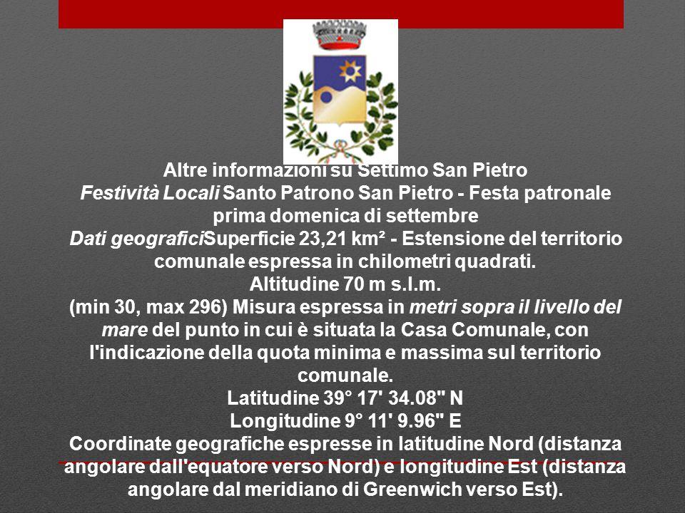 Altre informazioni su Settimo San Pietro Festività Locali Santo Patrono San Pietro - Festa patronale prima domenica di settembre Dati geograficiSuperf