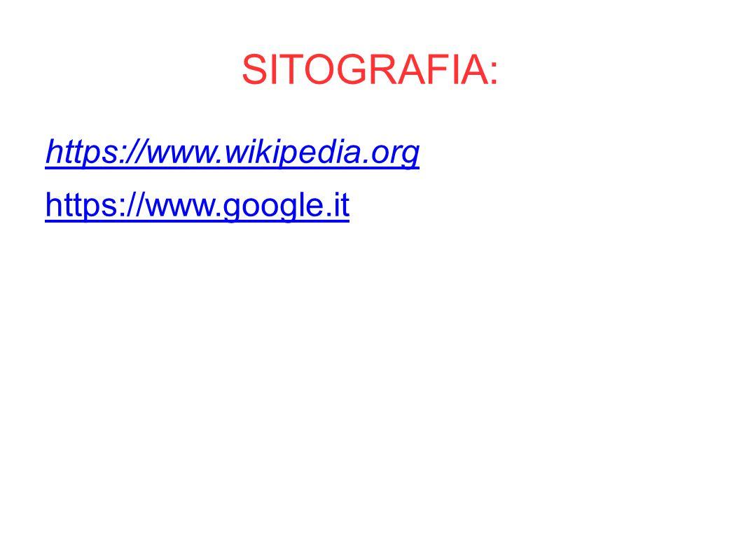 SITOGRAFIA: https://www.wikipedia.org https://www.google.it