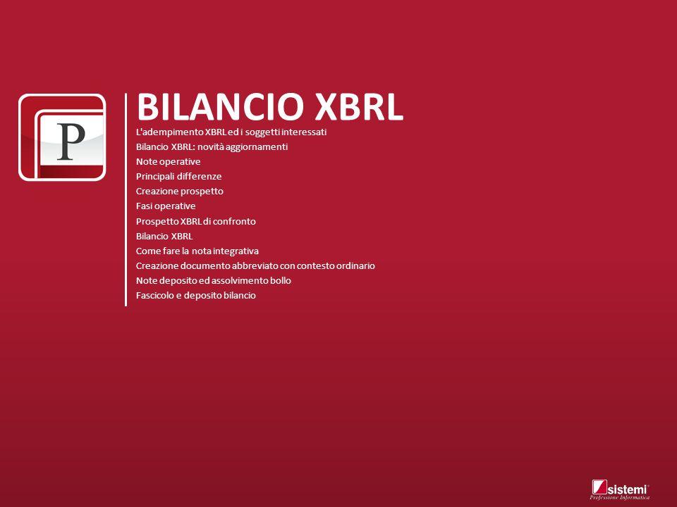 BILANCIO XBRL L'adempimento XBRL ed i soggetti interessati Bilancio XBRL: novità aggiornamenti Note operative Principali differenze Creazione prospett
