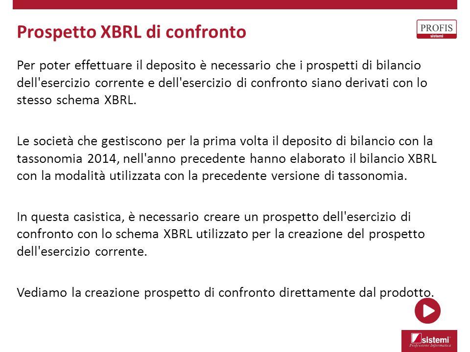 Prospetto XBRL di confronto Per poter effettuare il deposito è necessario che i prospetti di bilancio dell'esercizio corrente e dell'esercizio di conf