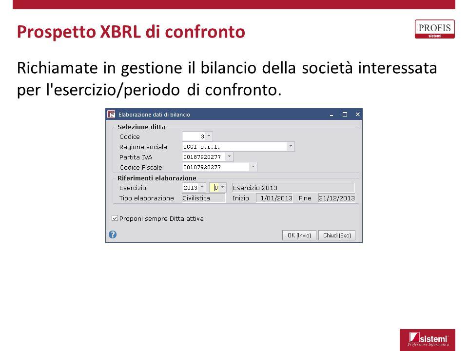 Prospetto XBRL di confronto Richiamate in gestione il bilancio della società interessata per l'esercizio/periodo di confronto.