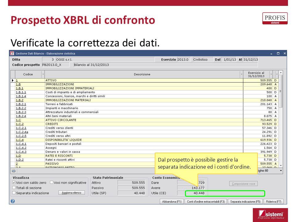 Prospetto XBRL di confronto Verificate la correttezza dei dati. Dal prospetto è possibile gestire la separata indicazione ed i conti d'ordine.
