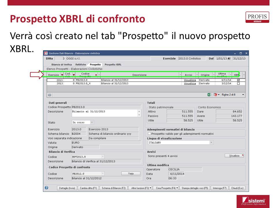 Prospetto XBRL di confronto Verrà così creato nel tab
